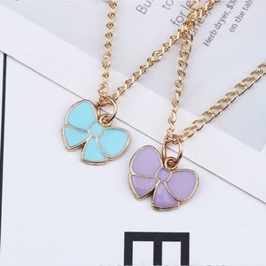 Baby Blue Bow Knot Enamel Pendant Gold Necklace